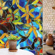 100x45cm Static Cling Cover Stained Flower Glass Window Film Sticker Home Decor