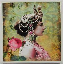 Set of 4 - Handmade Natural Stone Ceramic Tile Drink Coasters - Mata Hari  - D