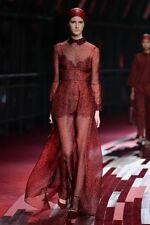NWT VALENTINO RUWAY Silk Leopard Print Red Maroon Gown IT40 US4  $7900