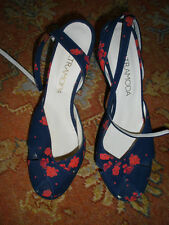 LALTRAMODA FLORAL HEELED SHOES, EU 39/UK 6, BRAND NEW, ANKLE STRAPS AND PEEP-TOE