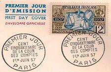 1957 - FDC 1°JOUR**Cours - Des - Comptes - Obl.Paris**TIMBRE Y/T.1107-Verso 1004