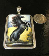Hand painted black stallion Horse, sterling silver handmade pendant by Anna King