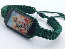 Pulsera de San Judas doble tejida hecha a mano en color verde (6)