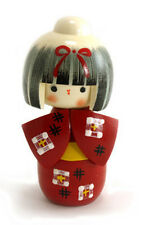 "Japanese Creative KOKESHI Wooden Doll Girl 5.25""H Red (Authentic Made in Japan)"