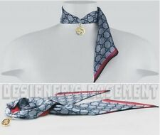 GUCCI navy/red HESS gold Interlocking G PENDANT silk Ribbon scarf NWT Authentic!