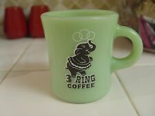 Rare 3 Ring Coffee Circus Elephant Logo JADITE Fire-King Restaurant Coffee Mug
