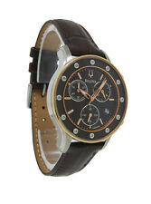 Bulova Diamond 98R160 Women's Analog Brown Round Chronograph Date Leather Watch