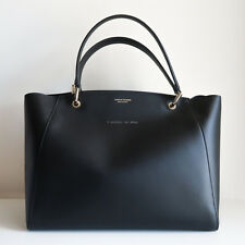 SCANLAN THEODORE tote bag black leather blue suede lining handbag gold italy