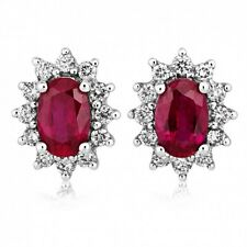 2.00 Carat Oval Natural Ruby and Diamond Cluster Earring Crafted in White Gold .
