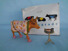 """Cow Parade """"EARLY SHOW"""" Breakfast Cow #9129 Table Coffee Bagel Paper Year 2000"""