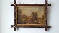 J.G. HULETT (19th C) - Listed - ANTIQUE OIL ON CANVAS PAINTING 1867 - 11.5x7.5""