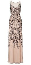 Ariella Eden Beaded Mesh Dress Nude UK10 RRP £395