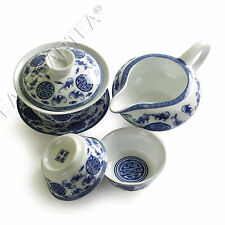 4pcs Chinese Porcelain Five Blessings Gaiwan Pitcher Cha hai teacup tea set 90ml