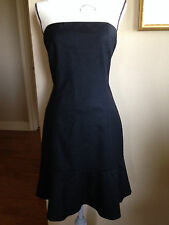 Theory strapless shift dress Size 6 Solid Black ruffle hem lined D184