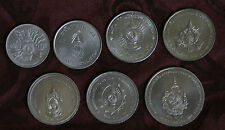 King Bhumibol Adulyadej Birthdays 7 Coin Set 1963 - 2011 Rama IX Thailand Siam a