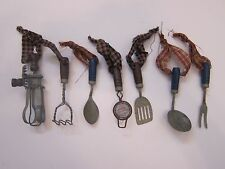 Antique Vintage Style Primitive Miniature Kitchen utensil ornaments 7 pieces