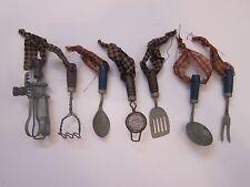 Antique Vintage Style Primitive Miniature Kitchen utensil ornaments 7 pieces