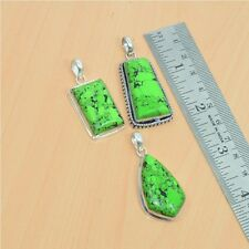 WHOLESALE LOT 3PC 925 SILVER PLATED GREEN TURQUOISE STYLISH BIG PENDANT-35GM