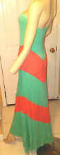 Sexy NEW Stunning Colorblock Strapless Tube Maxi Chevron Dress size L Mint Coral