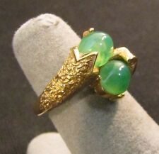 vintage gold plated estate TriFari branded marked Jade double stoned