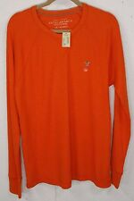 New American Eagle Mens Orange 100%Cotton Long Sleeve Thermal Waffle Shirt L NWT