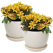 MyGift 4 Inch Ceramic Succulent Planter Flower Pots with Saucer, Set of 2,