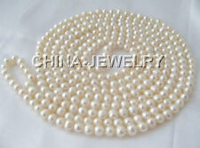"""P802-100"""" Long 7-8mm natural white round freshwater pearl necklace"""