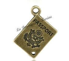 LOT DE 5 BRELOQUES METAL BRONZE FORME PASSEPORT - CREATION BIJOUX PERLES CHARMS