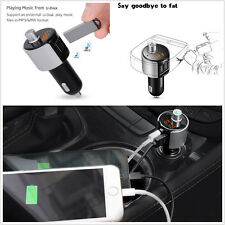 Bluetooth FM Transmitter Radio Adapter Receiver 2-USB Supports USB Flash Drive