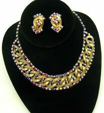 Vintage HOBE Set Bib Style Necklace Earrings AB Red Crystal Rhinestones