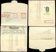GB 1957 ADVERTISING METER FRANKING SANGERS WRAPPER ACCOUNTS + RECEIPT STAMP