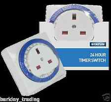 24 ore 24 h RETE PLUG IN TIMER INTERRUTTORE ORARIO OROLOGIO Socket UK 3 Pin Mechanical