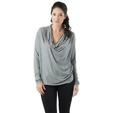 Bordeaux 3655 Womens Silver Shimmer Cowl Neck Long Sleeves Casual Top S BHFO