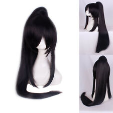 D.Gray-man Yu Kanda Long Straight Black Anime Cosplay Wig With One Ponytail