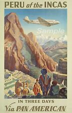 VINTAGE PERU OF THE INCAS PAN AM TRAVEL A3 POSTER PRINT