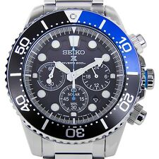 NEW Seiko Gents Solar Chronograph Black & Blue Bezel Diver's Watch SSC017P1