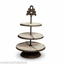 The GG Collection Baroque Metal & Ceramic 3 Tiered Server Plate Serving Stand