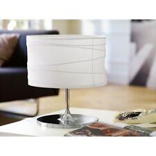Tischleuchte Tischlampe Hockerleuchte Chrom Stoff Weiß Wohnzimmerlampe Kommode