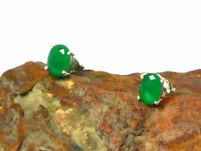 EMERALD   Sterling  Silver   925   EAR  STUDS  -  5 x 7 mm  -  Gift Boxed!!
