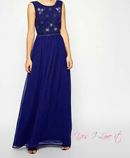 Embellished Shell Maxi Evening Wedding Party BRANDED Dress in NAVY UK10 RRP £85