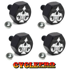 4 Black Billet License Plate Frame Hex Bolts For Harley - GHOST SKULL SPADE
