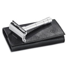 Merkur Solingen 46C Double Edge Safety Razor Travel Razor in Leather