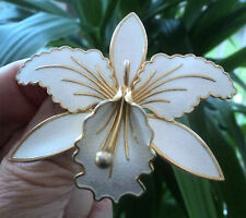 LARGE Norwegian Silver & White Enamel Orchid Brooch - Aksel Holmsen Norway