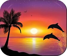 DOLPHINS SUNSET PINK BEACH MOUSE PAD PLACEMAT NON FADE NON SLIP HEAT RESISTANT