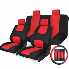 17pc Car Seat Covers Airbag Compatible Universal Full Set + Steering Wheel Cover