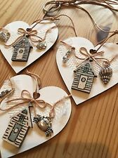 Nautical Hanging Decoration Shabby Chic Heart Beach Huts Charms