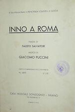 SPARTITO  INNO A ROMA  - PUCCINI -ANNO 1937 - XV° ERA FASCISTA ( M.V.S.N.)
