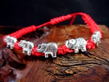 Silver Elephant Feng Shui Jewelry Good Luck Longevity Charm String Bracelet NEW