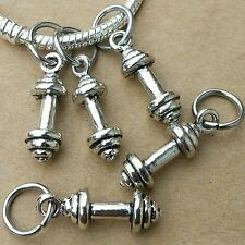 5PC Lot Workout Gym Fitness Barbell Dumbbell Pendants European Dangle Charms