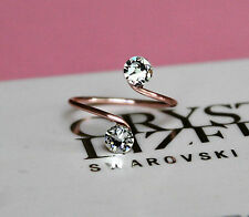 Rose Gold Plated Toe/Knuckle Ring with Clear Swarovski Crystals Elements